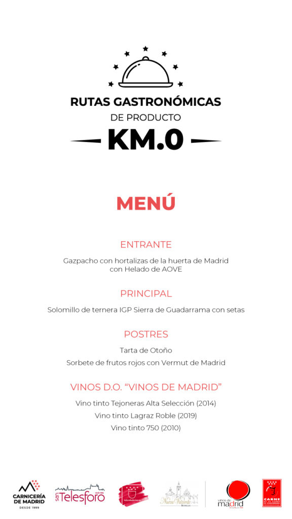 Menú de la 2ª Cena de la Ruta Gastronómica de Producto Km.0 en The Westin Palace